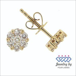 Cluster Diamond Push Back Earrings 14K Yellow Gold